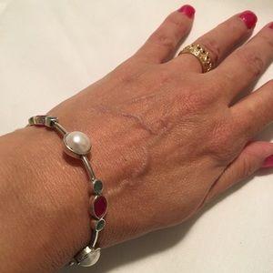 Natural Pearl & Gemstone Sterling Bangle Bracelet
